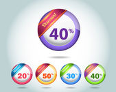 Set of colorful vector Icon Discount Ball Set Vector Design — Vettoriale Stock