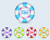 Botón icono vector esfera e libro y multicolor — Vector de stock