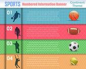 Numbered Information Sport Banner Vintage Pattern Vector Design — Stockvektor