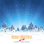 Merry Christmas Village Landscape Vector Design — ストックベクタ