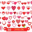 50 Valentine's Day Vector Design Elements — Stok Vektör