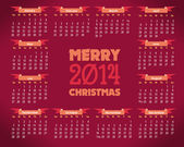 2014 Full Calendar Template - Promotion Poster Vector Design — Vettoriale Stock