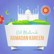 "Ramadan Kareem Vector Design - Detailed drawings of the mosque - Islamic Holy Day Theme - Arabic ""Eid Mubarak"", ""be Blessed"" at English — Stock Vector"