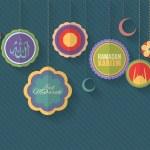 "Ramadan Kareem - Islamic Holy Nights Theme Vector Design - Arabic ""Eid Mubarak"", ""be Blessed"" at English — Stock Vector #48548231"