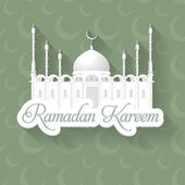 "Ramadan Kareem - Detailed drawings of the mosque - Islamic Holy Nights Theme Vector Design - Arabic ""Eid Mubarak"", ""be Blessed"" at English — Stock Vector"