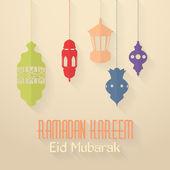 "Ramadan Kareem - Islamic Holy Nights Theme Vector Design - Arabic ""Eid Mubarak"", ""be Blessed"" at English — Stok Vektör"
