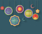 "Ramadan Kareem - Islamic Holy Nights Theme Vector Design - Arabic ""Eid Mubarak"", ""be Blessed"" at English — Stok Vektör"