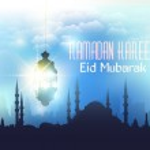 "Ramadan Kareem - Islamic Holy Nights Theme Vector Design - Arabic ""Eid Mubarak"" ""be Blessed"" at English — Stock Vector #48554023"