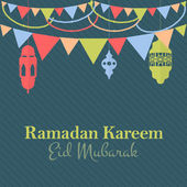 "Ramadan Kareem - Islamic Holy Nights Theme Vector Design - Arabic ""Eid Mubarak"", ""be Blessed"" at English — Stock vektor"