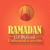 """рамадан карим - священной исламской ночи тема вектор дизайн - """"ид мубарак"""" арабский """"благословятся"""" на английском языке — Cтоковый вектор"""