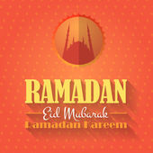 "Ramadan Kareem - Islamic Holy Nights Theme Vector Design - ""Eid Mubarak"" Arabic ""be Blessed"" at English — Vetor de Stock"