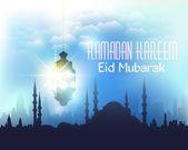 "Ramadan Kareem - Islamic Holy Nights Theme Vector Design - Arabic ""Eid Mubarak"" ""be Blessed"" at English — Stok Vektör"