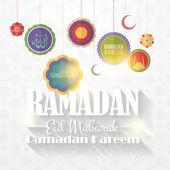 "Ramadan kareem - tema noites sagrado islâmico vector design - árabe ""eid mubarak"", ""ser abençoado"" em inglês — Vetor de Stock"