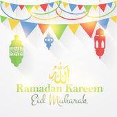 "Ramadan Kareem - Islamic Holy Nights Theme Vector Design - Arabic ""Eid Mubarak"", ""be Blessed"" at English — Stock Vector"