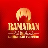 "Ramadan Kareem Glossy Gold Badge - Islamic Holy Nights Theme Vector Design - Arabic ""Eid Mubarak"", ""be Blessed"" at English — Stock Vector"
