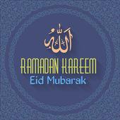"Ramadan Kareem - Islamic Holy Nights Theme Vector Design - ""Eid Mubarak"" Arabic ""be Blessed"" at English — Stok Vektör"