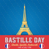 14th July Bastille Day of France Announcement Celebration Message Poster, Flyer, Card, Background Vector Design — Stock Vector