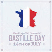14th July Bastille Day of France Announcement Celebration Message Poster, Flyer, Card, Background Vector Design — Stockvector