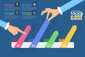 Vlakke infographics elementen van de sjabloon en web - business, marketing touch en kies vector conceptontwerp — Stockvector