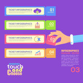 Flat Infographics Template and Web Elements - Business, Marketing Touch and Choose Concept Vector Design — Vettoriale Stock