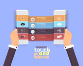 Flat Infographics Template and Web Elements - Business, Marketing Touch and Choose Concept Vector Design — Cтоковый вектор