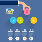 Flat Infographics Template and Web Elements - Business, Marketing Touch and Choose Concept Vector Design — Stock Vector