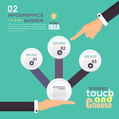 Flat Infographics Template and Web Elements - Business, Marketing Touch and Choose Concept Vector Design — Vector de stock