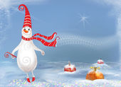 Сhristmas background. Сheerful ,happy snowman. — Stock Photo