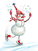Snowman skating.(On a white background) — Stockfoto