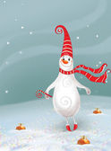 Сhristmas background. Сheerful ,happy snowman and toys — Stock Photo