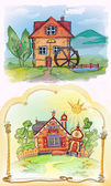 Sketches unusual homes.Tale. — Stock Photo