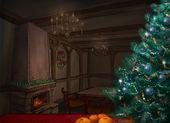 Christmas room. Illustration. Fireplace. New Year. — Stock Photo