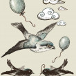 Stock Photo: Vintage. collection Elements of Decor. Birds. Ball.Cloud