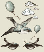 Vintage. collection Elements of Decor. Birds. Ball.Cloud — Stock Photo