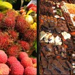 Stock Photo: Exotic fruits and Chocolate. market. Emporium.City market Bokerija.
