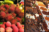 Exotic fruits and Chocolate. The market. Emporium.City market Bokerija. — Stock Photo