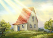 Country house. sunny morning. — Stock Photo