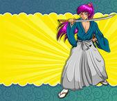 Manga samurai — Stock Vector
