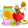 Honey and apple - Stock Vector