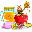 Stock Vector: Honey and apple