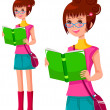 Girl with a book — Stock Vector