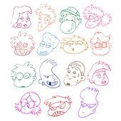 漫画的面孔 — 图库矢量图片