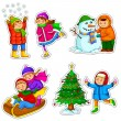 Kids in winter — Stock Vector #15766617