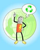 Batería de dibujos animados — Vector de stock