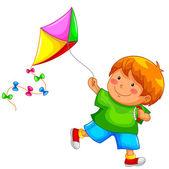 Boy with a kite — Stock Vector