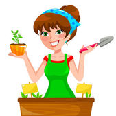 Gardenning girl — Stock Vector