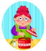 Grandma's cooking — Stock Vector