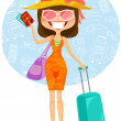 Traveling woman — Stock Vector #27805953