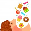 Stock Vector: Boy eating sweets