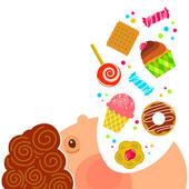 Ragazzo mangiando dolci — Vettoriale Stock